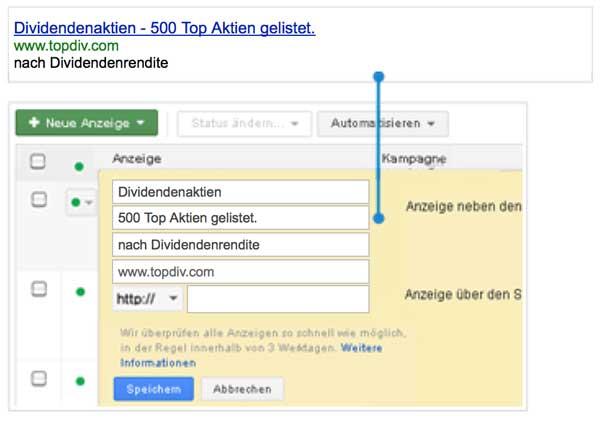 AdWords Anzeigentitel Optimierung